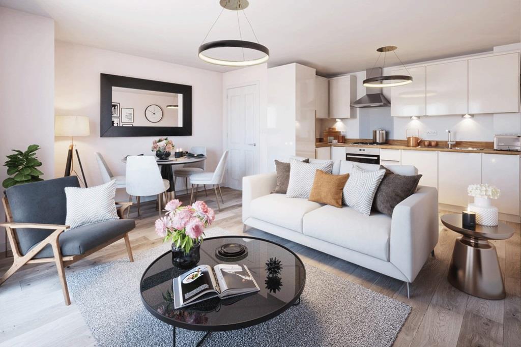 The Jameson apartment kitchen/living area