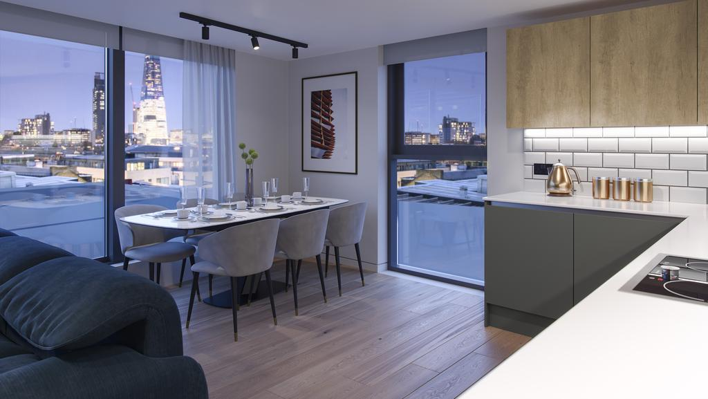 Kitchen and dining area at Tower Bridge Road; computer generated image intended for illustrative purposes only, ©Acorn Property Group.