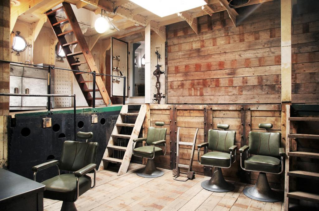 Light Vessel 93 interior stairs with wooden walls