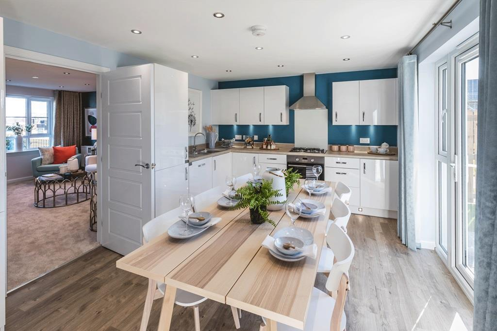 Example of the 4 bed detached Fenton Kitchen/dining room with doors leading to the lounge and back g