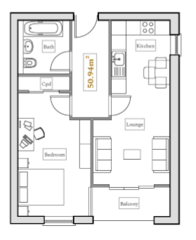 Floorplan: 1 Bed Illustrative