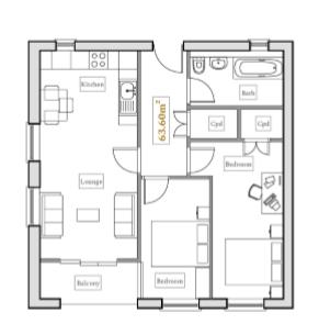 Floorplan: 2 Bed Illustrative Plan