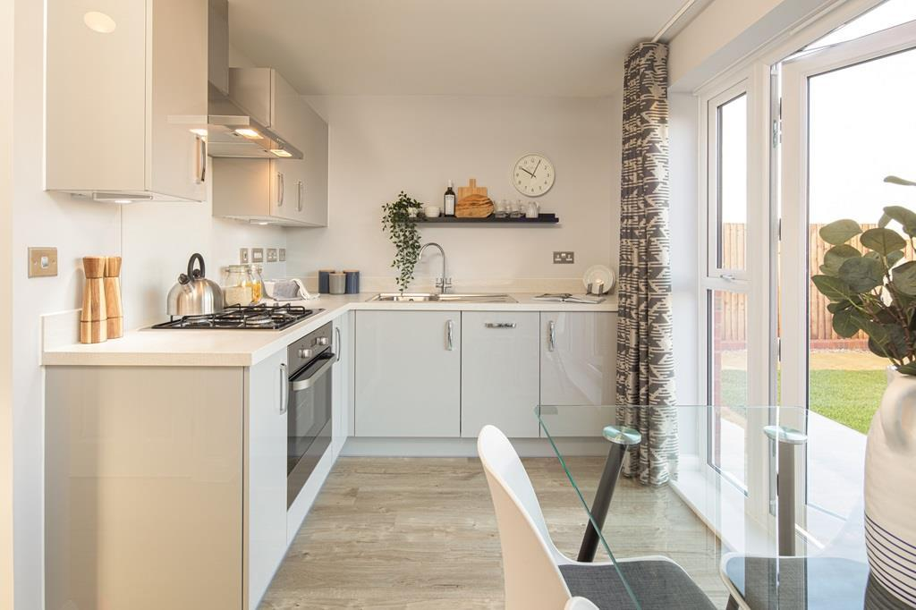 Kitchen internal image of the Kenley Show Home at Birds Marsh View, Chippenham
