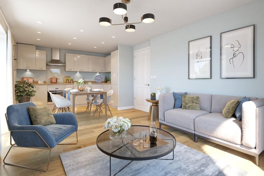 Internal CGI of the open plan lounge, kitchen and diner in the Hornsea Apartment at Ladden Garden Vi