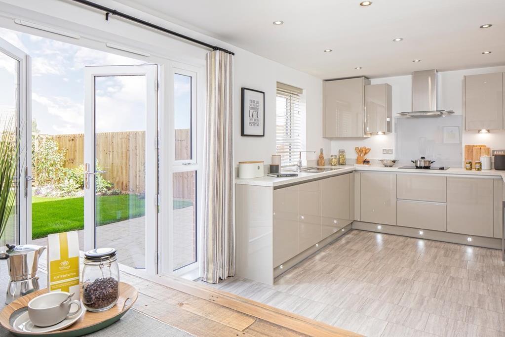 Inside view of open plan kitchen in Kingsley 4 bedroom home