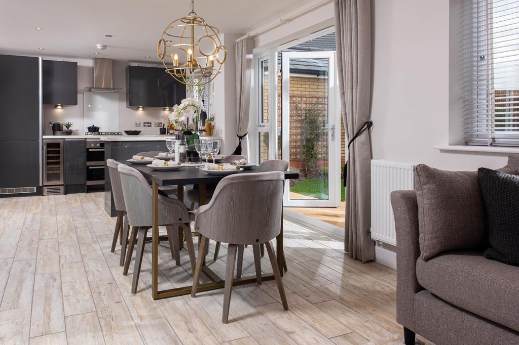 Open plan kitchen featured in the Camberley house type