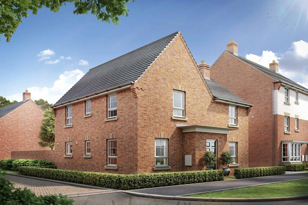 Barratt Homes, Kingsbrook, Orchard Green, Aylesbury, Street Scene, Lincoln CGI